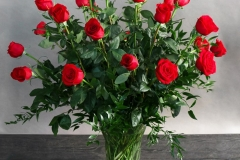 2 DOZEN PREMIUM RED ROSES IN VASE $250.00