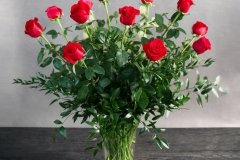 DOZEN PREMIUM RED ROSES IN VASE $145.00